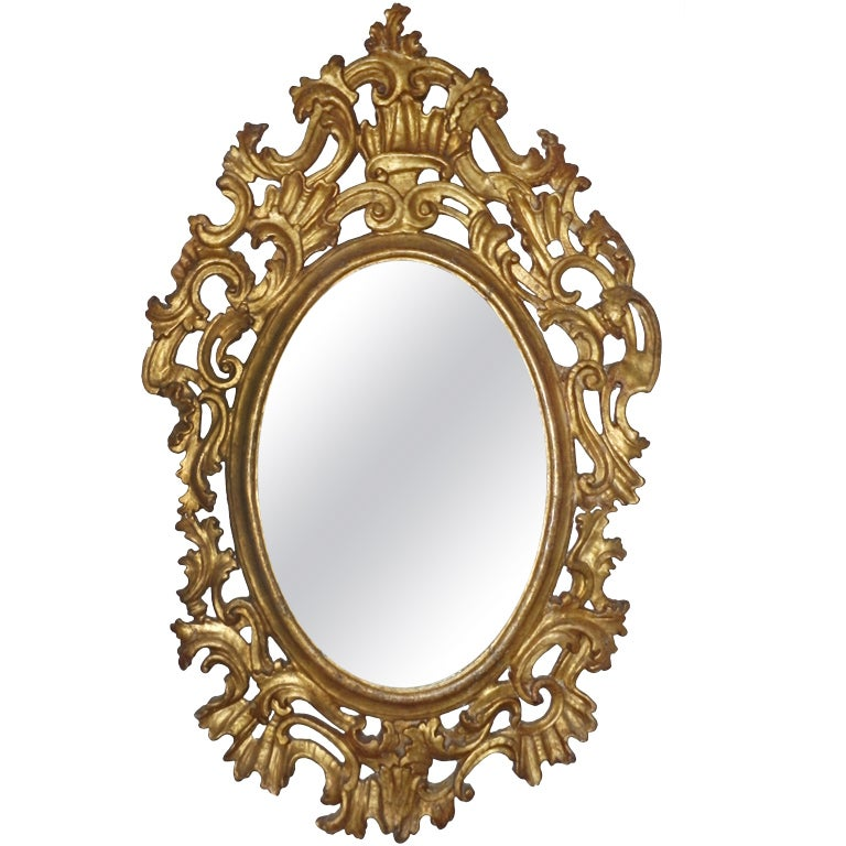 18th Century Spanish Colonial Gilt Oval Mirror