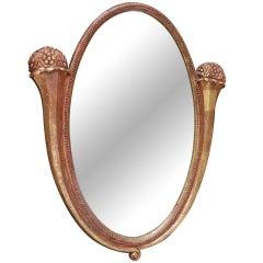 Large Art Nouveau Gilt Oval Mirror