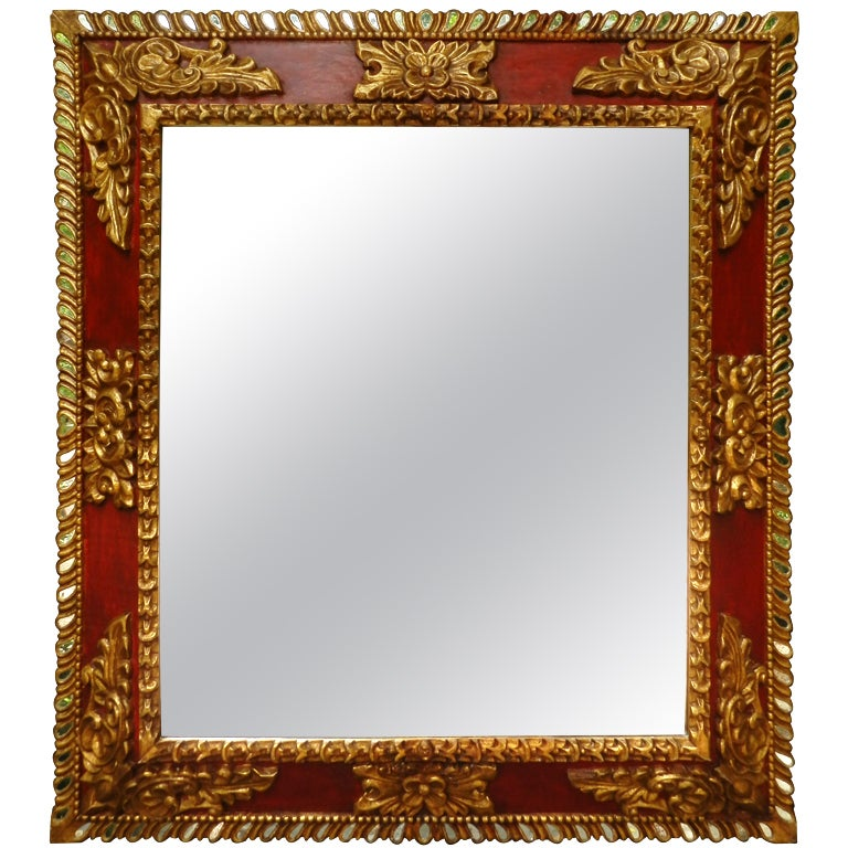 Red Wall Mirror spanish colonial style red with gold leaf reflector mirror for