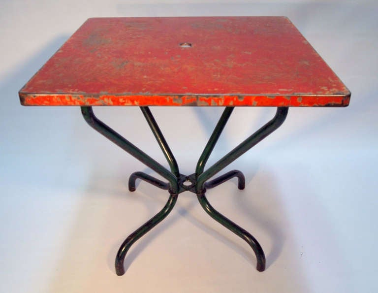 Set of french mid century square metal bistro tables at for Mid century bistro table