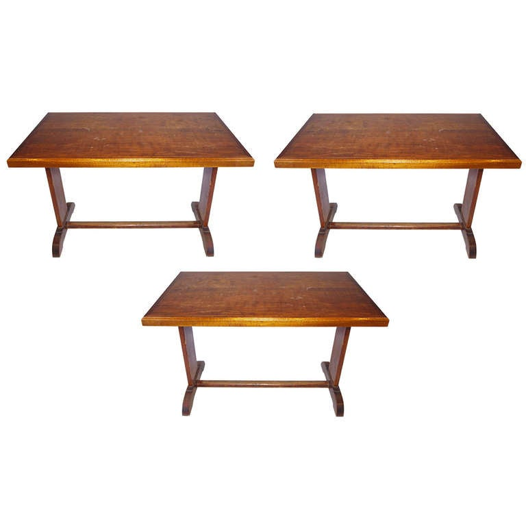 Set Of Three French Wood Bistro Tables For Sale At 1stdibs