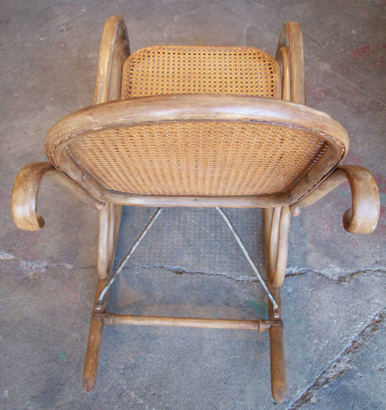 thonet bentwood and caned rocking chair for sale at 1stdibs