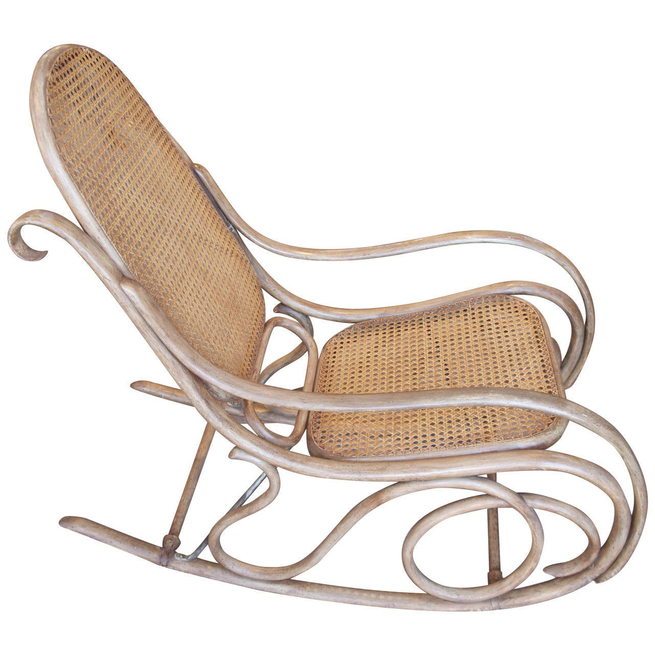 Bentwood rocking chair value - Thonet Bentwood And Caned Rocking Chair 1