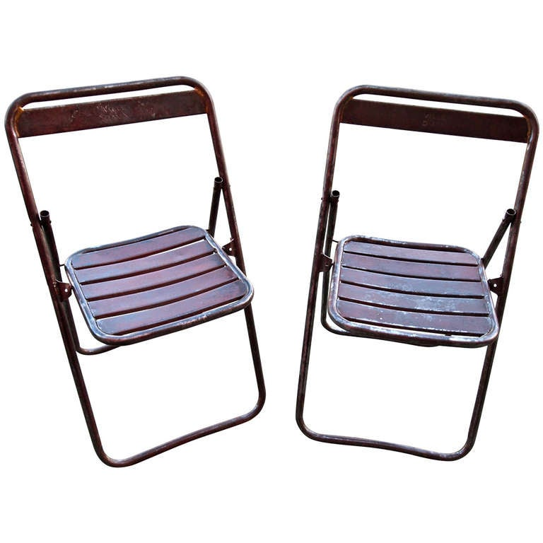Pair of Mid Century Industrial Metal Folding Chairs at 1stdibs