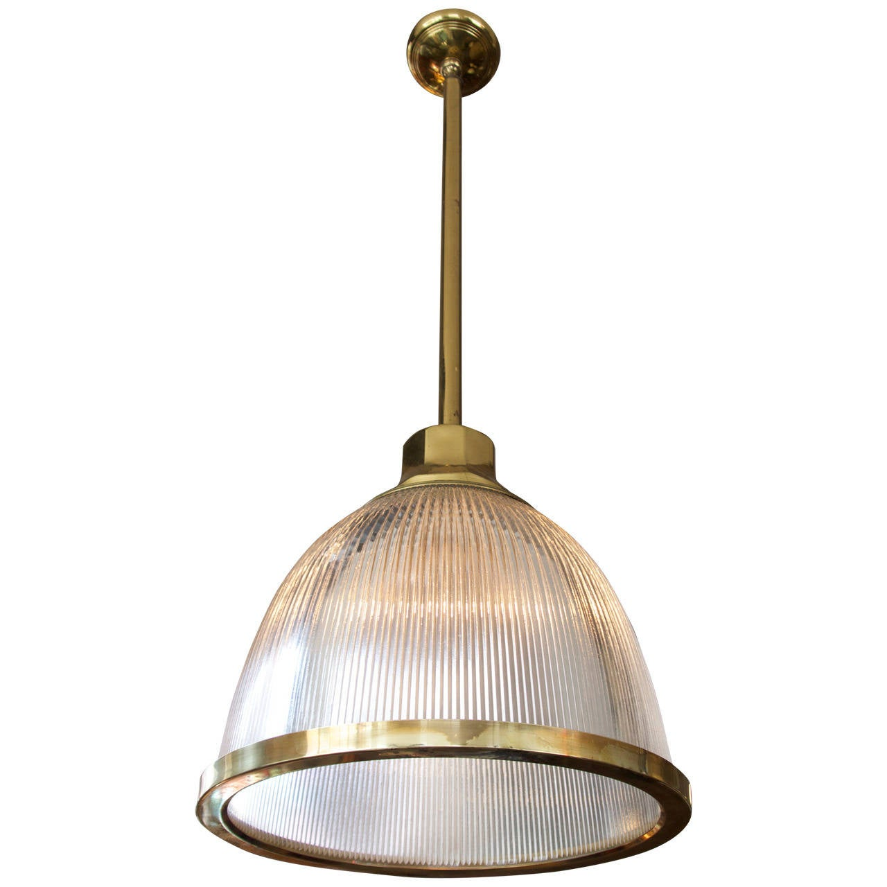 Large Dome Holophane Glass And Brass Pendant At 1stdibs