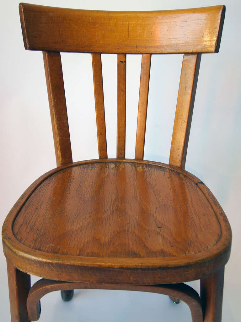 Set of french wooden bistro chairs at stdibs