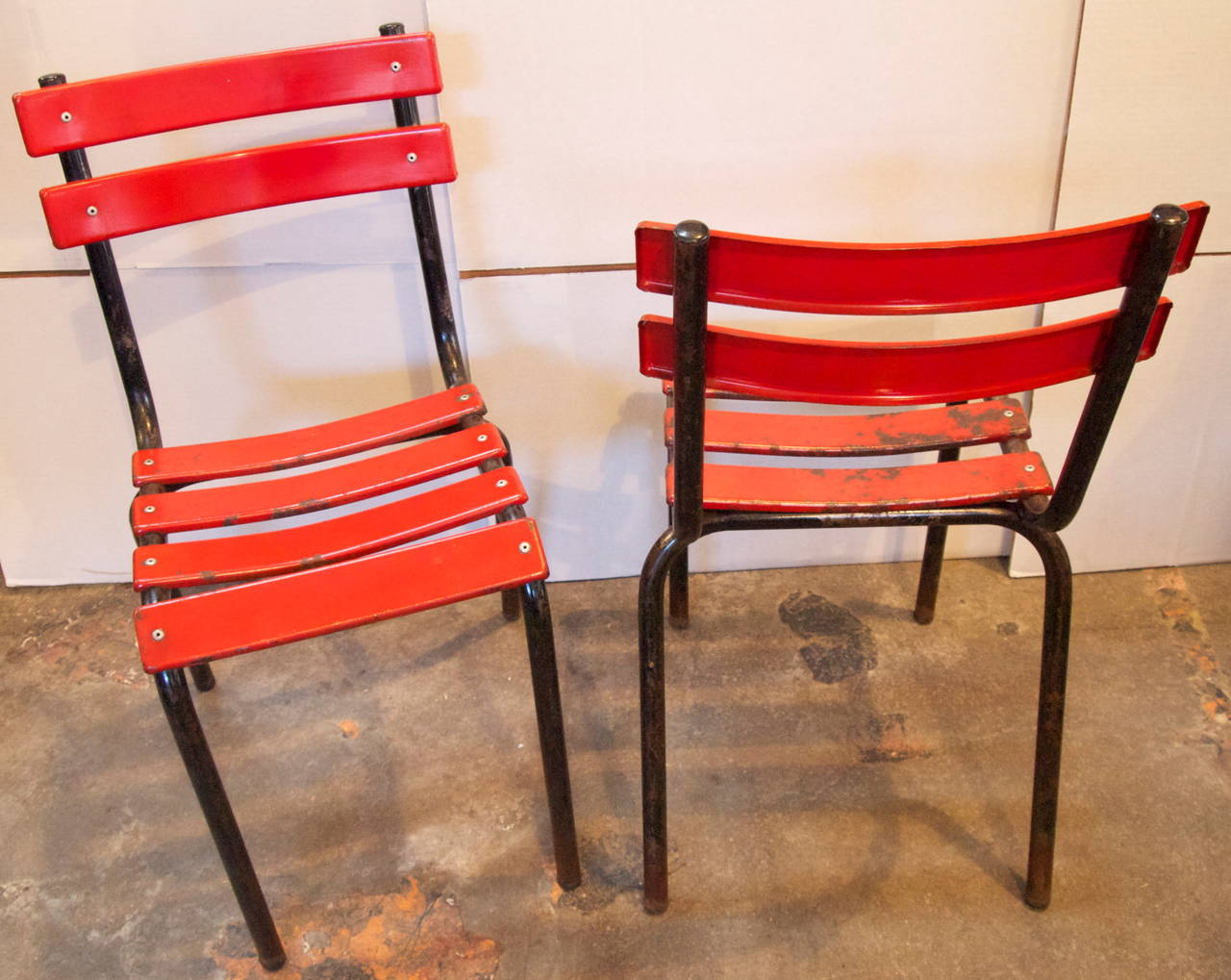 Set Of Four French Industrial Metal Bistro Chairs At 1stdibs