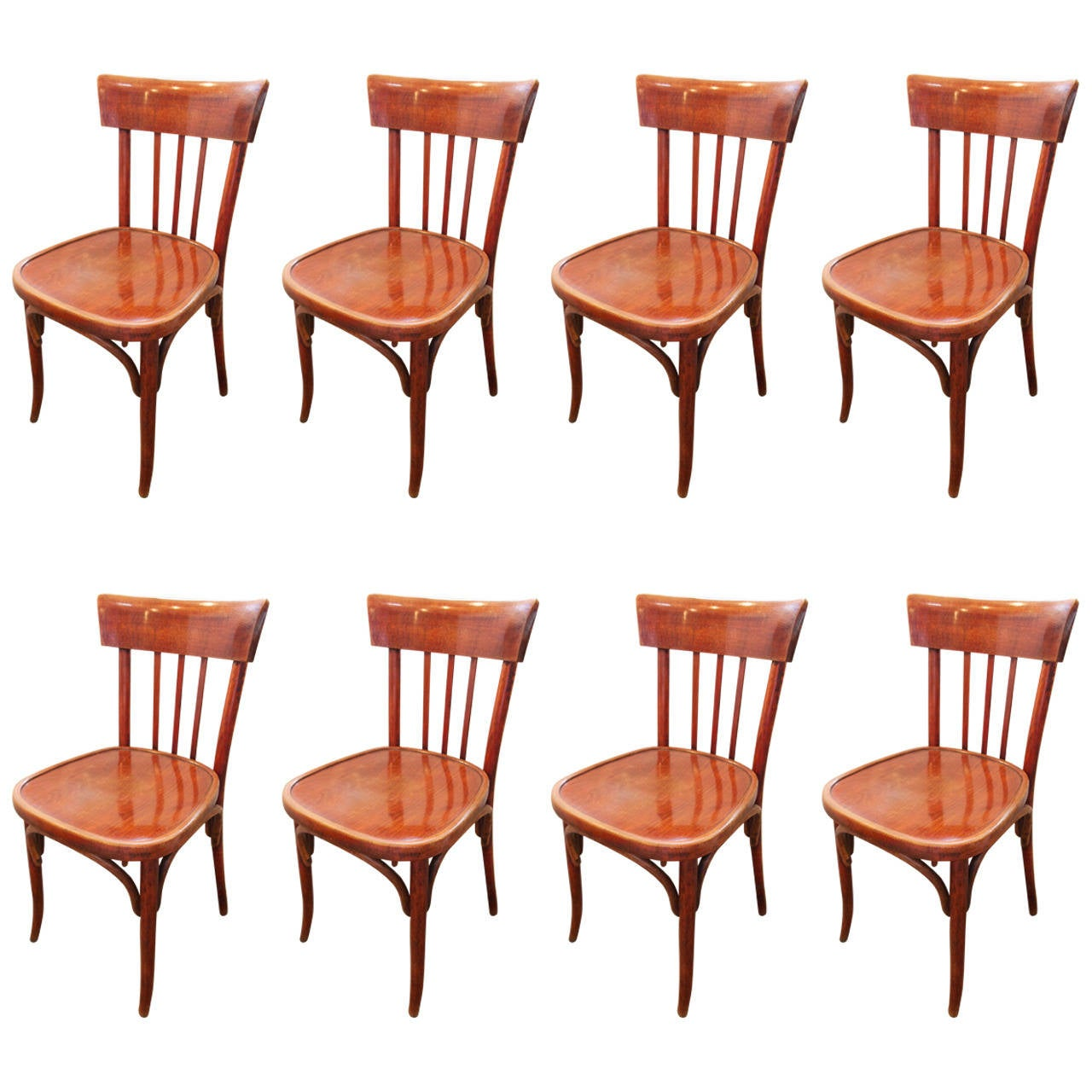 Bentwood bistro chair - Set Of Eight French Bentwood Bistro Chairs 1