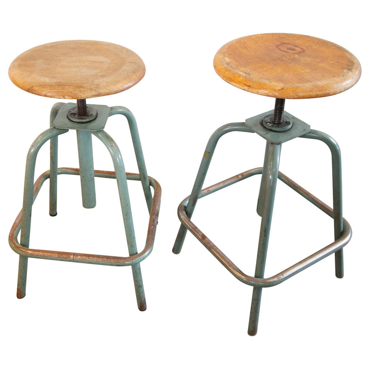 Pair of French Industrial Adjustable Stools 1