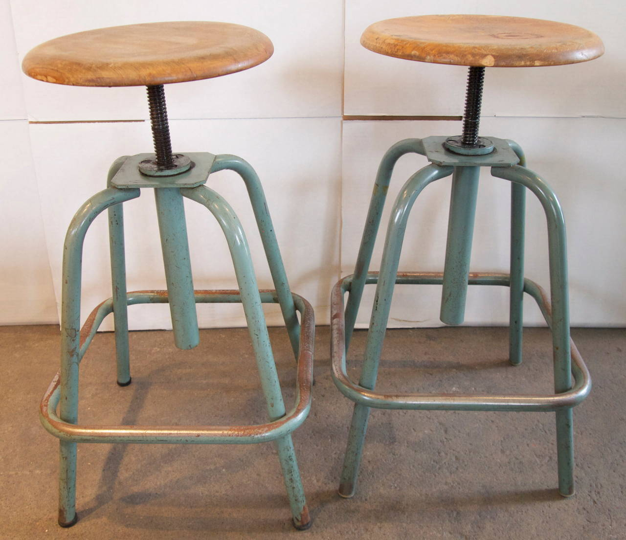 pair of french industrial adjustable stools at stdibs - pair of french industrial adjustable stools