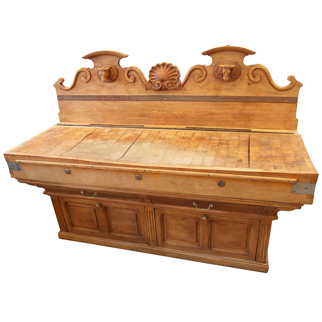 french double butchers block for sale at 1stdibs. Black Bedroom Furniture Sets. Home Design Ideas