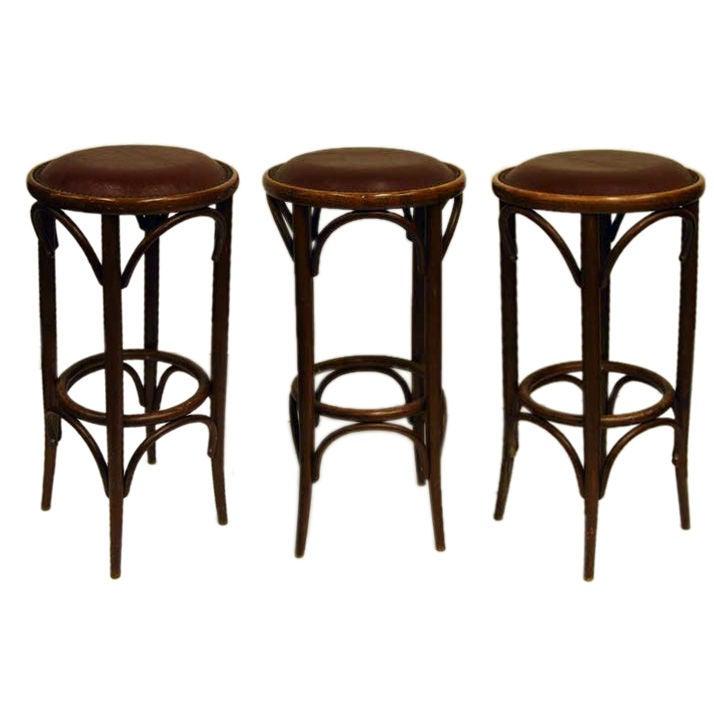 Set Of Three Bentwood Upholstered Stools At 1stdibs