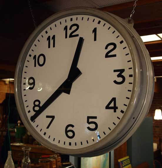 double sided hanging train station clock 2