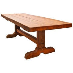 Large French Chestnut Trestle Table