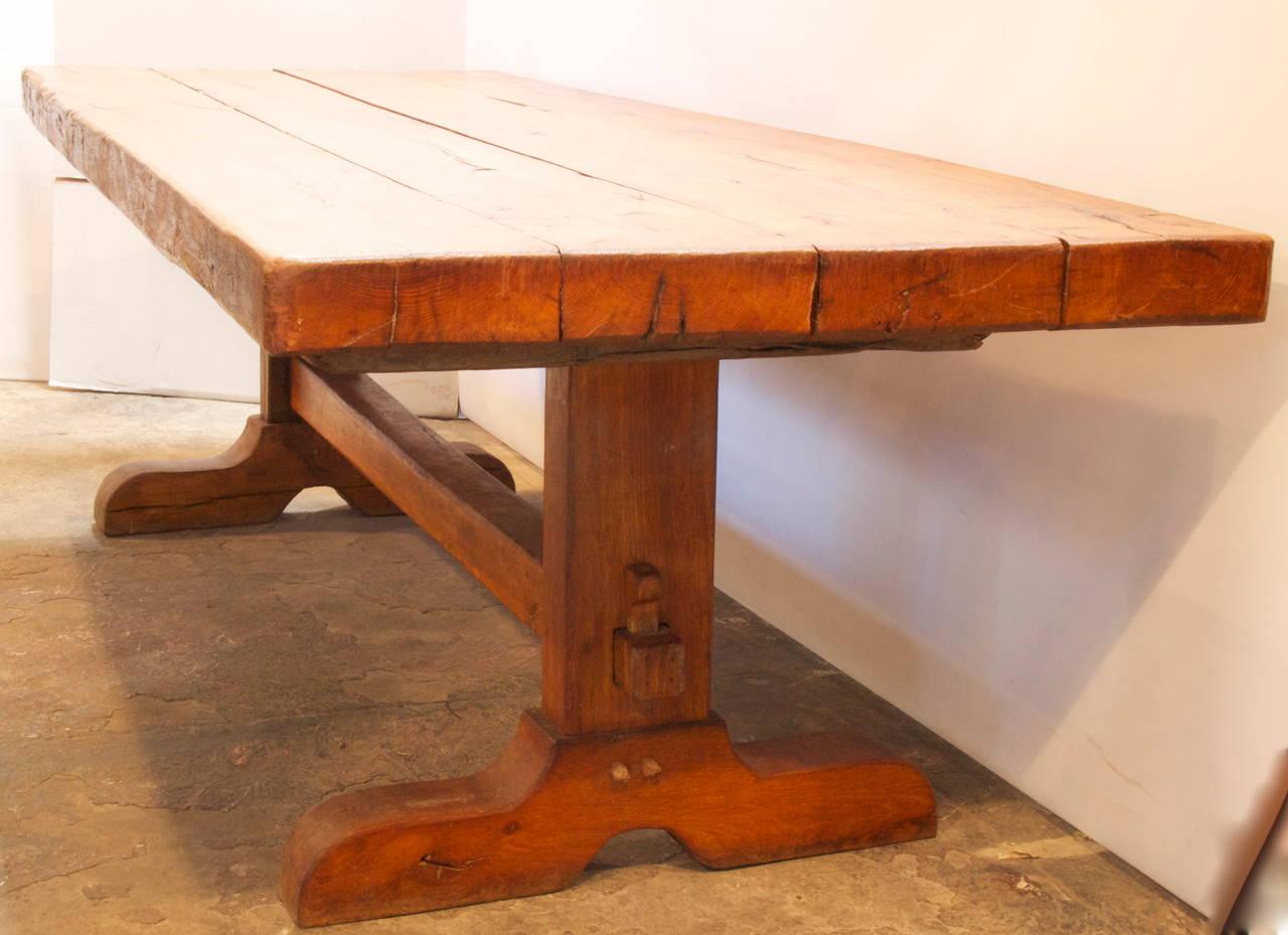 Large French Chestnut Trestle Table 3