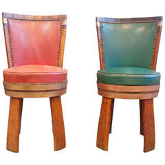 French Oakwood Upholstered  Wine Barrel Chairs
