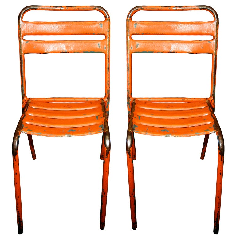 French Industrial Orange Painted Metal Bistro Chairs At 1stdibs
