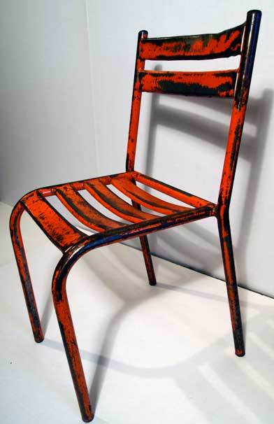 Pair of French Industrial Orange & Red Metal Bistro Chairs image 3