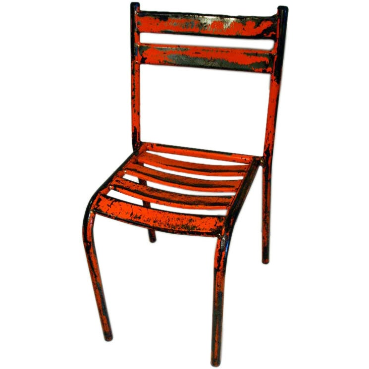 pair of french industrial orange u0026 red metal bistro chairs 1