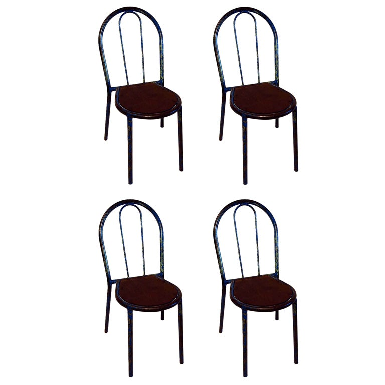 Set Of 20 French Industrial Metal U0026 Wood Bistro Chairs 1