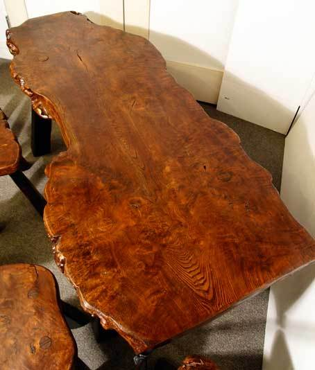 French Unique Burl Wood Wine Tasting/coffee Table & 6 Matching Stools For Sale