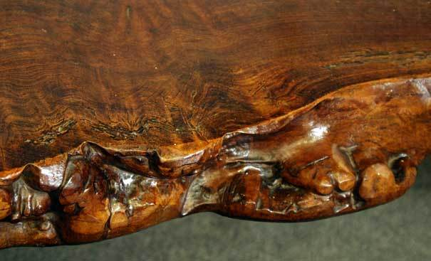 Stained Unique Burl Wood Wine Tasting/coffee Table & 6 Matching Stools For Sale