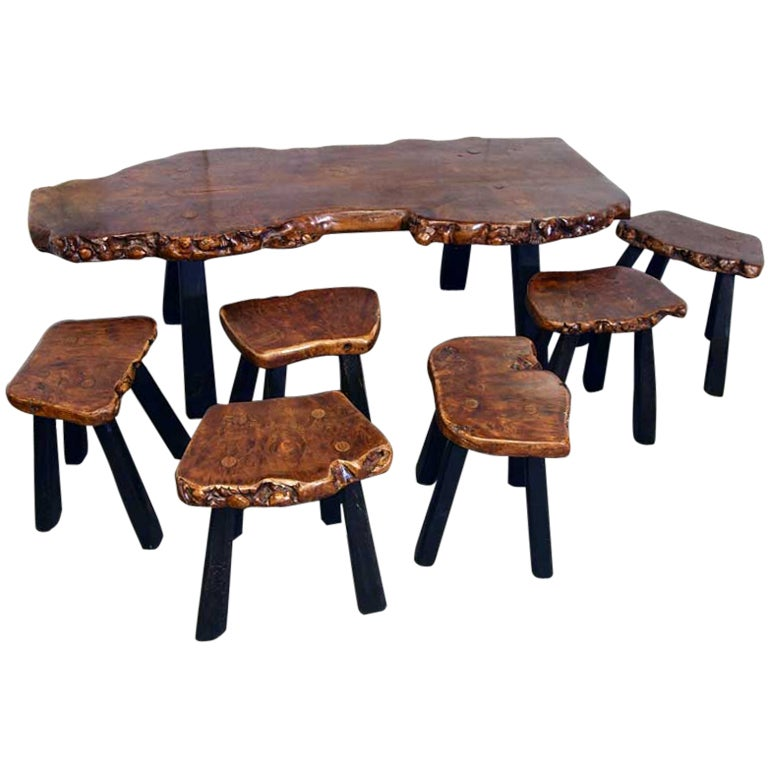 Unique Burl Wood Wine Tasting/coffee Table & 6 Matching Stools For Sale