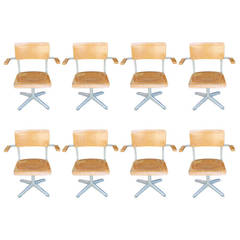 Set of Eight Midcentury Industrial Armchairs