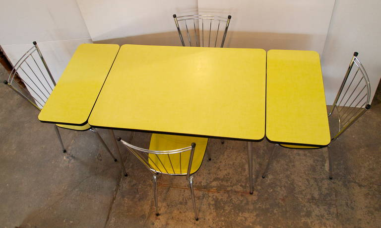 Lovely Mid Century Yellow Formica Kitchen Table And Chair Set 2