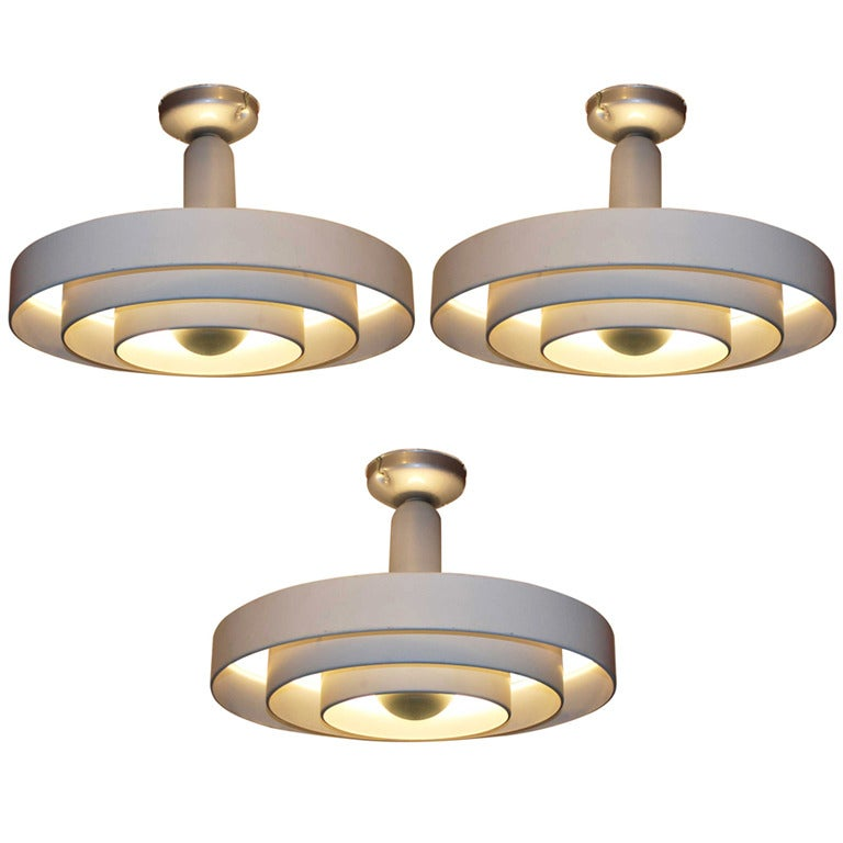 Set of 3 mid-century Industrial ceiling lights at 1stdibs