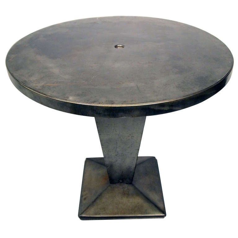 french mid 20th century industrial tolix kub round table at 1stdibs. Black Bedroom Furniture Sets. Home Design Ideas