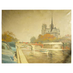 Vintage Tourist Painting of Notre-Dame