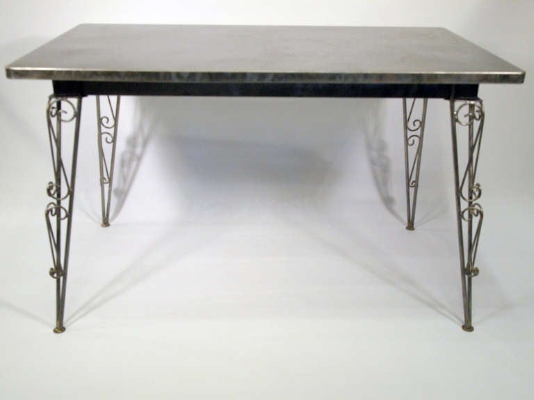 French mid 20th century metal table model tolix 55 at 1stdibs for Table style tolix