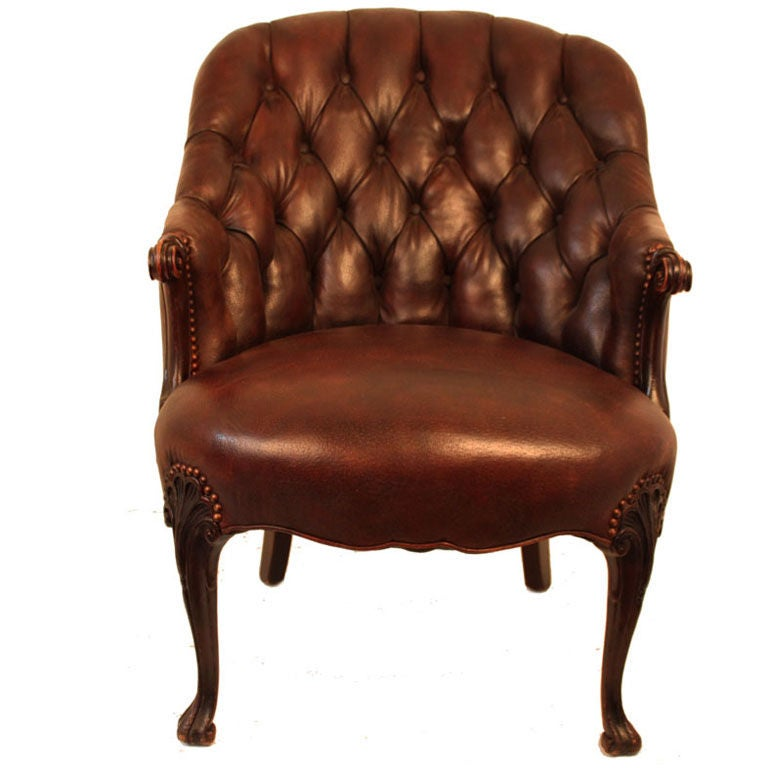 PAIR ENGLISH TUFTED BACK SCROLL ARMS BROWN LEATHER CLUB