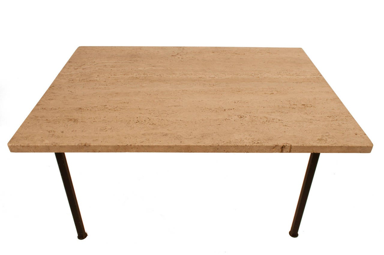 Stone top coffee table with steel legs for sale at 1stdibs Stone top coffee table