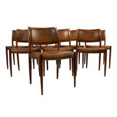 Set of Eight Dining Chairs by Niels Moller
