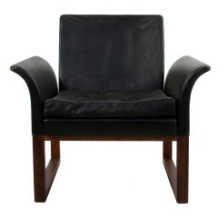 Black Leather Lounge Chair by Kindt Larsen and Thorald Madsen