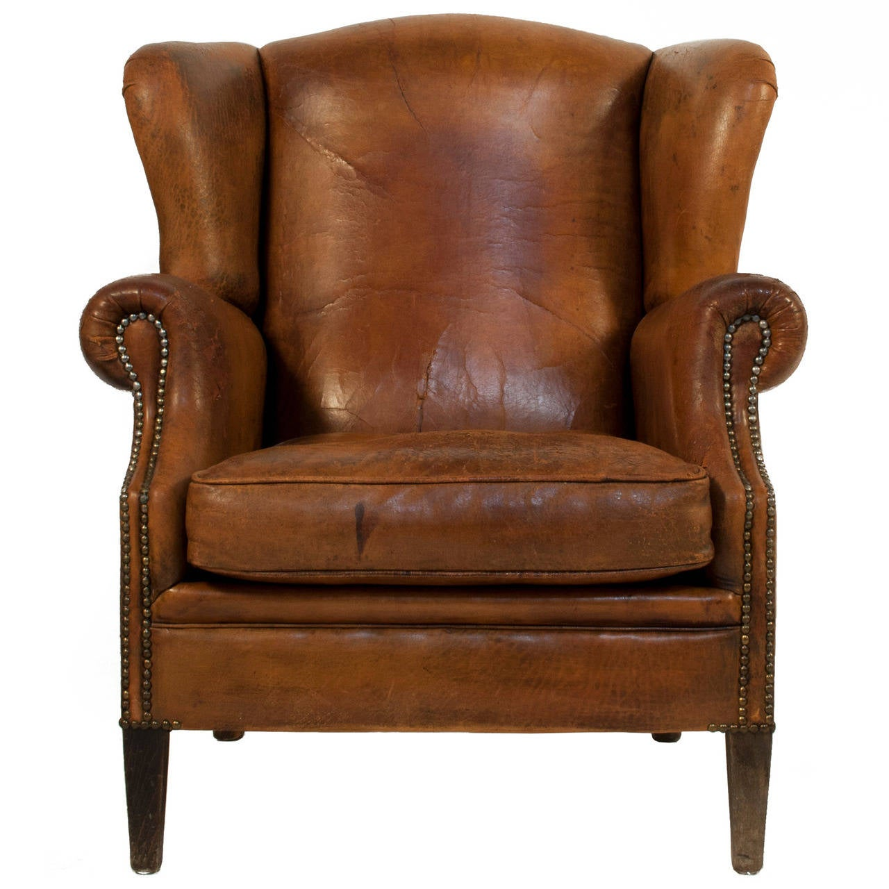 Leather wingback chair at 1stdibs for Furniture chairs