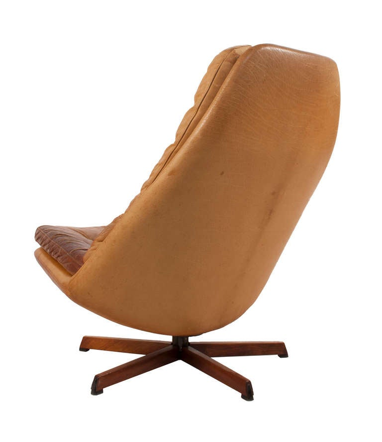 Leather swivel chair with foot stool at 1stdibs - Swivel feet for chairs ...