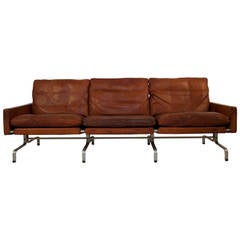 Leather Sofa PK-31/3 by Poul Kjaerholm