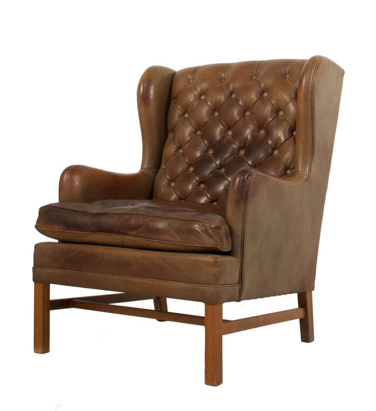Tufted Leather Wingback Chair For Sale at 1stdibs