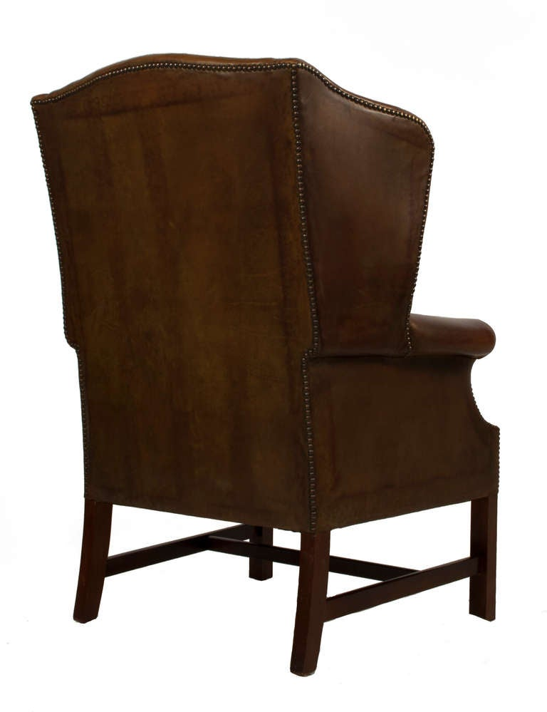 Pair of Leather Wingback Chairs For Sale at 1stdibs