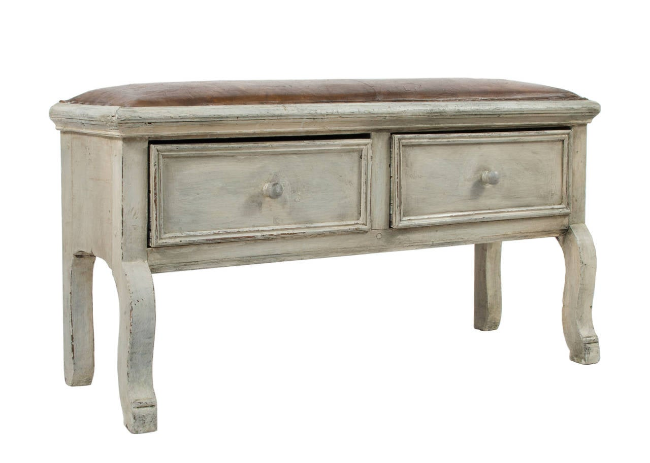 Baroque Bench With Leather Seat For Sale At 1stdibs