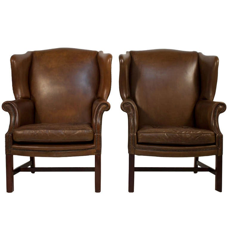 Pair of leather wingback chairs for sale at 1stdibs for Leather wingback recliner sale