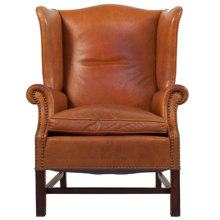 Leather Wingback Chair For Sale at 1stdibs