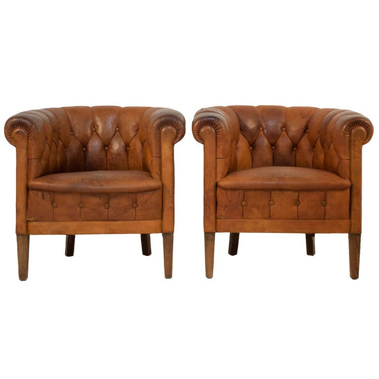 Pair of Tufted Leather Club Chairs at 1stdibs