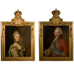 Pair of Paintings of the King and Queen of Sweden by Royal Painter Lorentz Pash