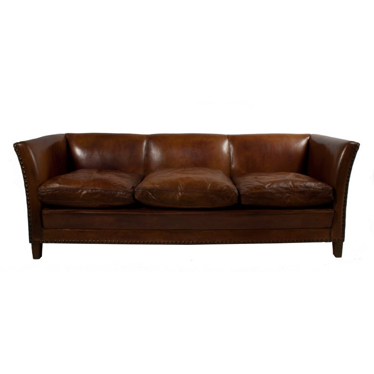 brown leather sofa at 1stdibs