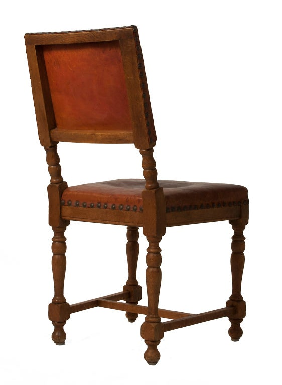 Set of 10 baroque style leather dining chairs at 1stdibs for Baroque style dining chairs