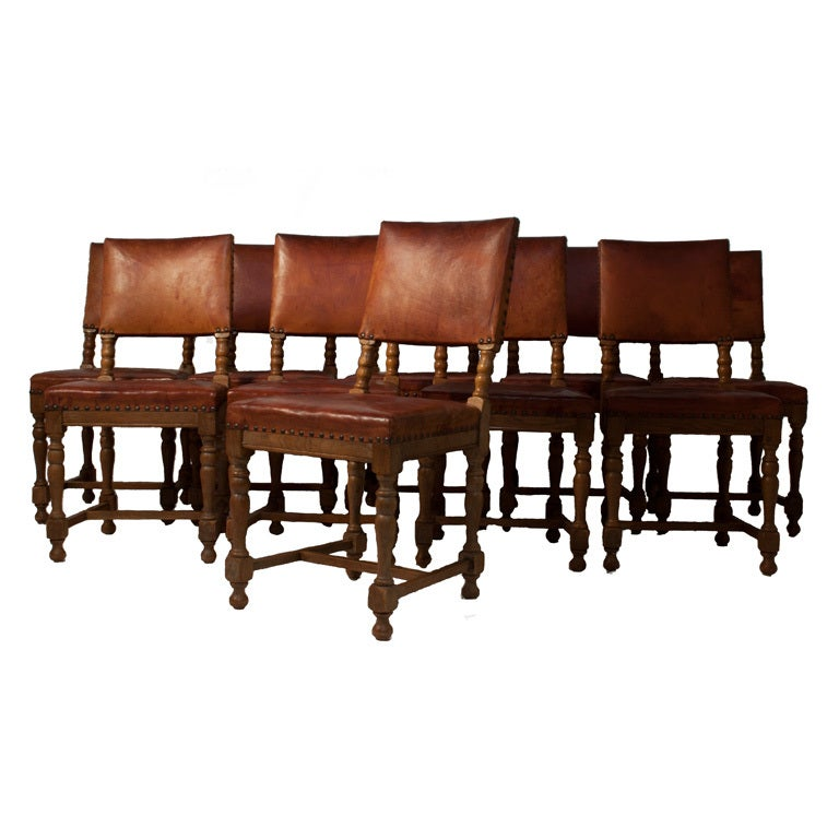 Set of 10 baroque style leather dining chairs at 1stdibs for Baroque dining furniture